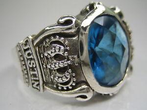 JUSTIN DAVIS BLUE 925 STERLING SILVER SOLID MENS RING VINTAGE 10.5/U1/2