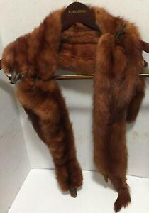 Vintage Red Fox Stole Full Body Pelt Tail & Legs Wrap Scarf - Four Pelts