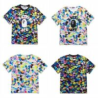 New Bape A Bathing Ape Camo Short Sleeves Colorful Monkey Head Men's T-shirt Tee