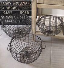 Vintage Industrial Style Wire Storage Basket Bowl Shape Hamper Handle Dark Grey