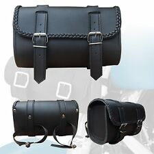 2Fit™ Black Synthetic Leather Motorcycle Front Fork Tool Bag for Bikers Braided