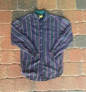 VINTAGE Duckhead Button Up Shirt Men Medium Purple Verticle Purple Stripes