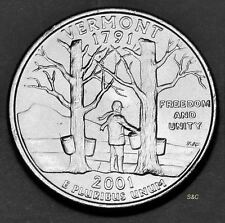2001 P MINT Vermont State Quarter Uncirculated Clad - U S Mint 50 States