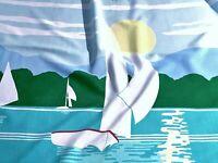 SALE 60s 70s Nautical Surfer Barkcloth Era Vintage Fabric Drape Curtain Sailboat