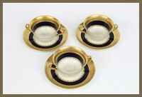 BLACK KNIGHT (1925-41) (3) CREAM SOUP BOWL & SAUCER SETS GOLD ENCRUSTED COBALT