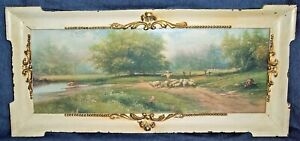Antique/Vintage Shepherd & Sheep Farming Landscape Pasture Framed Print Litho