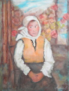 Impressionist woman portrait oil painting signed