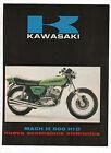 Pubblicità epoca 1972 MOTO MOTOR KAWASAKI MACH III advertising publicitè werbung