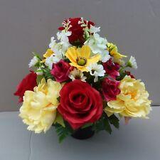 Artificial Silk Flower Arrangement In Pot For Grave/Memorial Vase R/Y 05