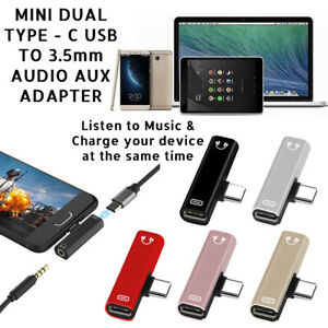 MINI DUAL TYPE-C USB To 3.5mm AUX Jack Headphone Adapter/Connector For ONEPLUS
