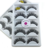 2 X 5 Pairs Luxurious 100% Real Mink 3D False Eyelashes Natural Wispy Eye Lashes