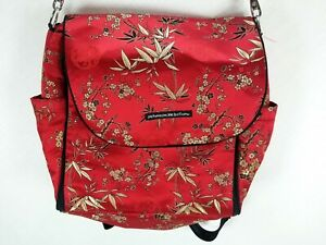Petunia Pickle Bottom Diaper Bag Backpack Red Asian Oriental Blossom Baby Bag