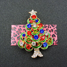 Betsey Johnson Charm Brooch Pin New Multicolor Crystal Enamel Christmas Tree