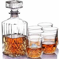 NEW Glass Whisky Decanter With 6 Tumblers Glasses Carafe Whisky Gift Fathers Day