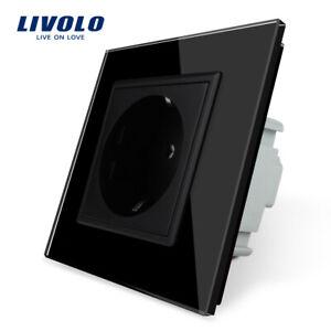 Livolo Glas Touch  Lichtschalter Wechselschalter  Steckdose Funkschalter Schwarz