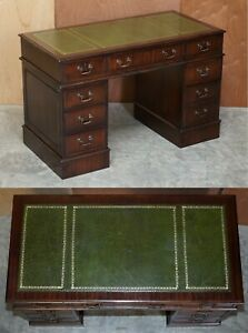 LUXURY VINTAGE GREEN LEATHER MAHOGANY TWIN PEDESTAL TRADITIONAL PARTNER DESK