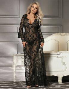 Sexy Long Luxury Negligee NIGHTIE Lingerie Lace Plus Size 10 12 14 16 18