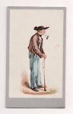 Vintage CDV Handpainted man Metz Alsac Germany Traditional National Costume