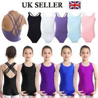 UK Girls Dance Sleeveless Leotards Ballet Gymnastics Unitard Jumpsuit Dancewear
