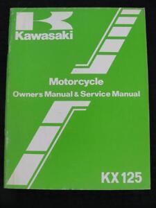1982 1983 Kawasaki KX 125 KX125 Moto de Cross Moto Reparación & Owner's Manual