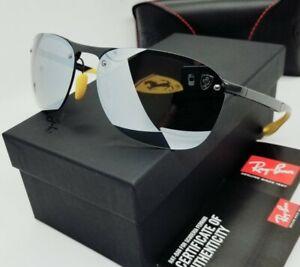 "RAY BAN grey/silver green mirror POLARIZED ""FERRARI"" RB4302M F624H1 sunglasses!"