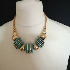 Gold Blue Tone Chunky Beaded Necklace 80's Style Snake Chain Retro Statement