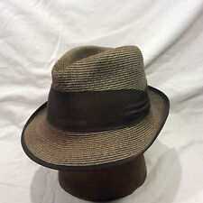 Green Brown Knoxx Straw Men's Hat with Brown Band VIntage Hat -- Size 7
