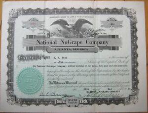 'NuGrape' Soda Pop 1933 Stock Certificate - Atlanta, GA Georgia