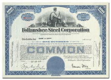 Follansbee Steel Corporation Stock Certificate