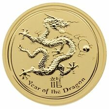 "2012 2 oz .9999 Gold Coin Lunar Series II ""Year of the Dragon"" BU"