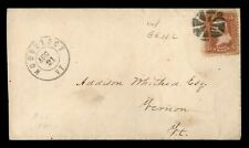 DR WHO 1860S WOODSTOCK VT FANCY CANCEL GRILL TO VERNON VT  f55359