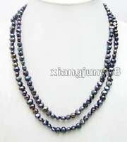 """40"""" Natural Black 6mm Baroque Freshwater Pearl Necklace for Women Long Necklace"""