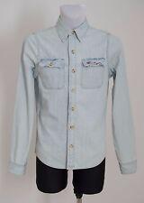 Camicia Casual Uomo Hollister 100% cotone denim blu a maniche lunghe S Small EXC