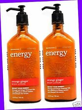 2 Bath & Body Works Aromatherapy ENERGY ORANGE GINGER Body Hand Lotion Cream