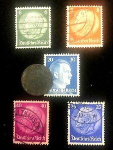 Rare Old WWII German War Coin Five Reichspfennig & Stamps World War 2 Artifact