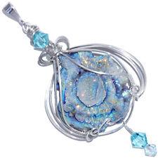 Fairy Aura Chalcedony Rosette Sterling Handmade Pendant