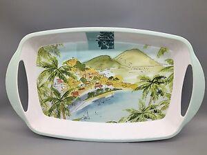 """Tommy Bahama Melamine Serving Tray Island Beach Palm Tree Mountain Hawaiian 20"""""""