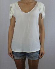 Zara Silk Patternless Tops & Shirts for Women