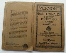 Vermont Rand Mcnally Indexed Pocket Map  Tourists & Shippers Guide 1924