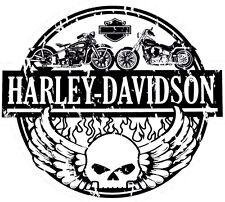 Genuine Harley Davidson Skull Winged Black & White Decal Sticker DC240883