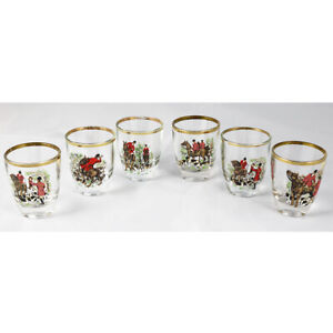 Hunting Themed 1970's Shot Glasses - Set of 6 - Horse, Fox, Foxhounds