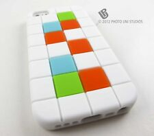 WHITE TETRIS GRID SOFT SILICONE GEL RUBBER CASE COVER APPLE IPHONE 5 5S SE