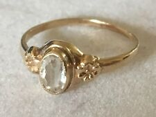 Cute Antique 14K Yellow Gold and Quartz Baby Ring Size 2