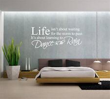 Life Isn't About Waiting Dance in The Rain Wall Art Wall Sticker UK RUI118