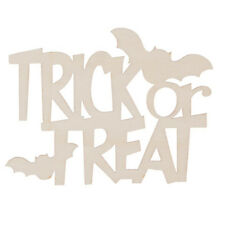 Trick or Treat Halloween Laser Wood Cut out Shape - Unfinished - 5 x 3.25 in