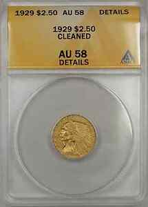 1929 Indian Head Quarter Eagle Gold $2.50 Coin ANACS AU-58 Cleaned Details +