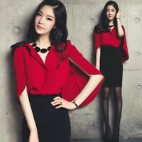 Hot Womens Korean Style Slim Fit Chiffon Short Batwing Sleeve Shirts Blouse Tops