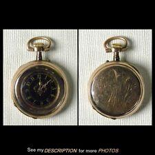 14K Gold Ladies Adolphe Huguenin Locle Pocket Watch Black Dial