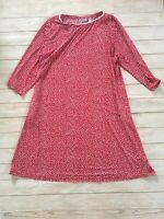 Susan Graver Red Patterned Liquid Knit Long Sleeve Dress Size XL