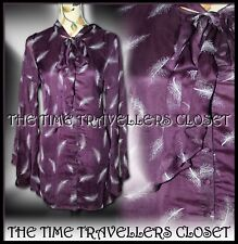 Kate Moss Topshop RARE Purple Feather Silk Tie Pussybow Shirt Dress Lined UK 10